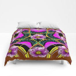 Antique Silk Roses Modern Art Fuchsia-Brown Abstract Comforters