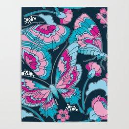 Butterflies in Blue Poster