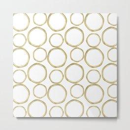 White & Gold Circles Metal Print