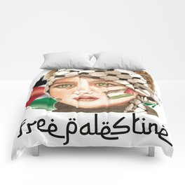 Free Palestine in watercolor Comforters