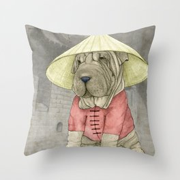 Shar Pei on the Great Wall Throw Pillow