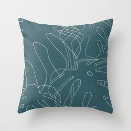 Monstera No2 Teal Throw Pillow