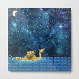 Golden Sea Monster, Loch Ness, Nessy Dragon Dinosaur Metal Print