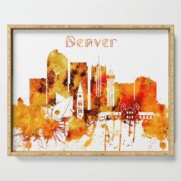 Denver Colorado Red Yellow Skyline Serving Tray