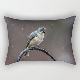 Tufted Titmouse shaking off the rain Rectangular Pillow
