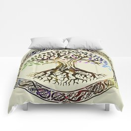 Tree of life  -Yggdrasil - Gold & Green  foil Comforters