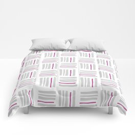 Stripes×Checkered Pattern_White&Pink Comforters