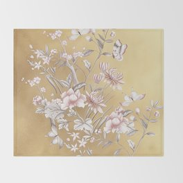 Chinoiserie Gold Throw Blanket