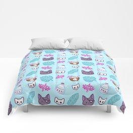 Pirate Cat // Turquoise Comforters