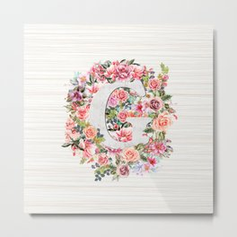 Initial Letter G Watercolor Flower Metal Print