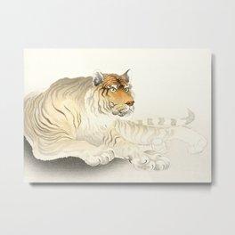 Resting Tiger - Vintage Japanese woodblock print Art Metal Print