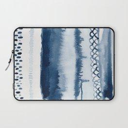 Beach Series Indigo Waves Watercolor Painting Laptop Sleeve