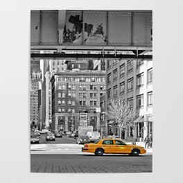 NYC - Yellow Cabs - Fish Market Poster