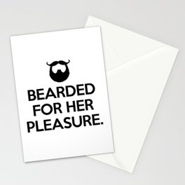 Bearded For Her Pleasure Funny Quote Stationery Cards