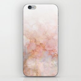 Beautiful Pink and Gold Ombre marble under snow iPhone Skin