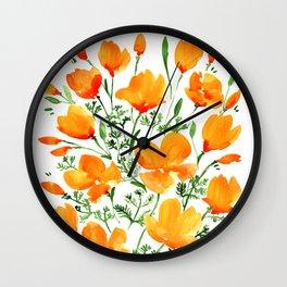 Watercolor California poppies Wall Clock