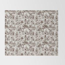 Alice in Wonderland | Toile de Jouy | Brown and Beige Throw Blanket
