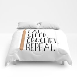 Eat Sleep Crochet Repeat Comforters