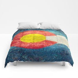 Colorado State Flag in Vintage Grunge Comforters