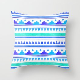 Seamless watercolor geometric pattern in native american style. Boho design Throw Pillow