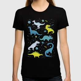 Space Dinosaurs in Bright Green and Blue T-shirt