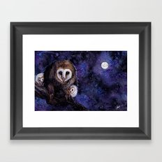 Baby Space Owls - coffee and watercolor painting Framed Art Print