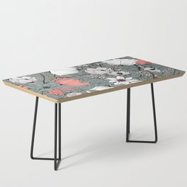 Seamless pattern design with hand drawn flowers and floral elements Coffee Table