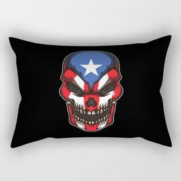 Puerto Rico Skull | Proud Boricua Flag Rectangular Pillow