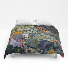 """Egon Schiele """"Stadtende Häuserbogen III"""" Comforters"""