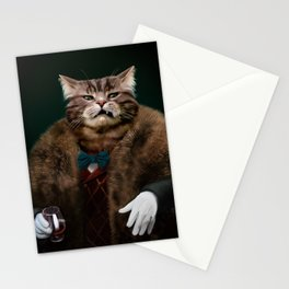 Arrogant sophisticated dressed cat boss looking with contempt Stationery Cards