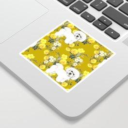 Bichon Frise on Yellow Rose Floral Autumn Gold Sticker