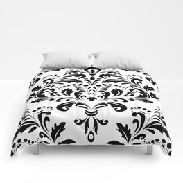 Bold Black & White Damask Pattern Comforters
