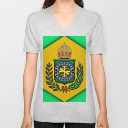 Brazil Empire Flag Extrusion Look World Crown Flowers Unisex V-Neck