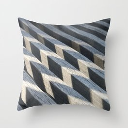 Play of light and shadow on wooden slats Throw Pillow