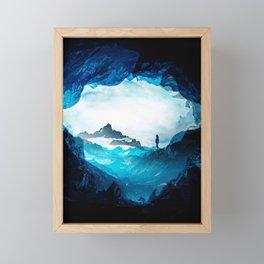 Figure Silhouette Blue Misty Mountains Framed Mini Art Print