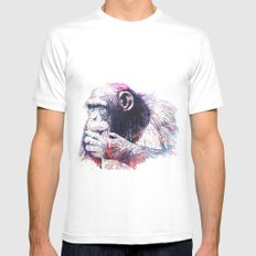 Monkey MEDIUM White Mens Fitted Tee