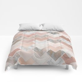 Rose Gold and Marble Geometric Tiles Comforters
