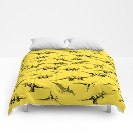 Dinosaurs on yellow background Comforters