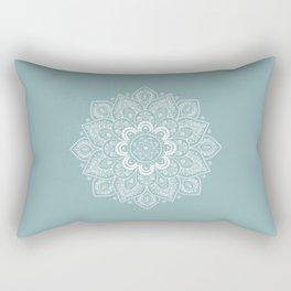 Temptation Mandala on Milky Blue Background Rectangular Pillow
