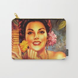 Jesus Helguera Painting of a Mexican Girl Beside Rattan Curtain Carry-All Pouch