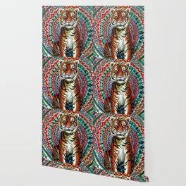 Tiger Watercolor Yoga Mandala Wallpaper