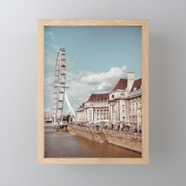 Postcard Picture of the London Eye & The Thames, moody blue tint Framed Mini Art Print