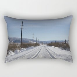 Carol M. Highsmith - Snow Covered Railroad Tracks Rectangular Pillow