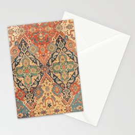 Geometric Leaves VIII // 18th Century Distressed Red Blue Green Colorful Ornate Accent Rug Pattern Stationery Cards