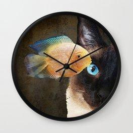 Wishful Thinking 2 - Siamese Cat Art - Sharon Cummings Wall Clock