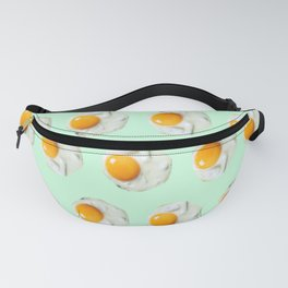 mint green funny food pattern breakfast eggs Fanny Pack