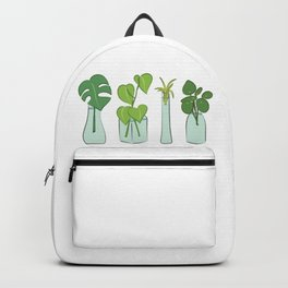 Plants in water bottles, colorful hand drawn illustration art Backpack