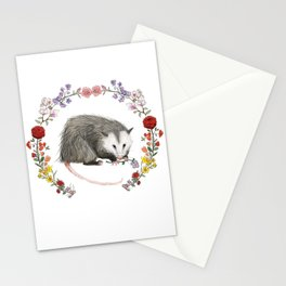 Opossum in Floral Wreath Stationery Cards