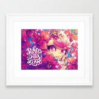 barachan Framed Art Prints featuring peace joy love by barachan