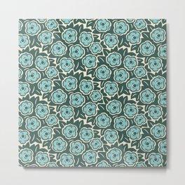 Flower Bouquet Pattern Mint Green on Green Metal Print